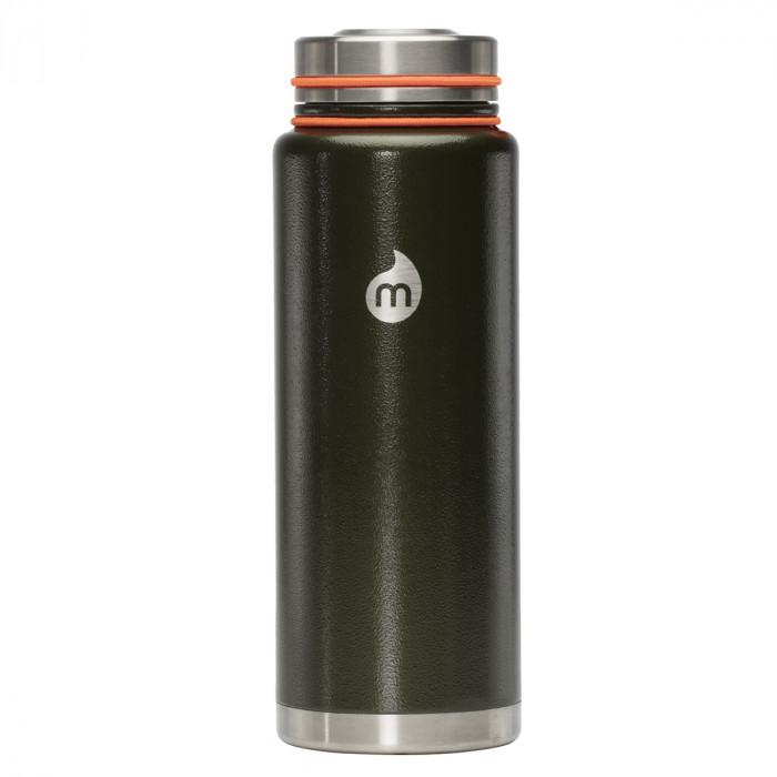 Thermosflasche in olivegrün mit Hammerschlag-Lackierung von MIZU - Modell V12 - Front
