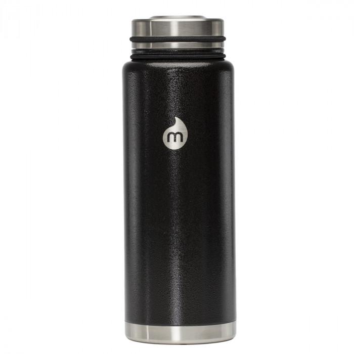 Thermosflasche in schwarz mit Hammerschlag-Lackierung von MIZU - Modell V12 - Front
