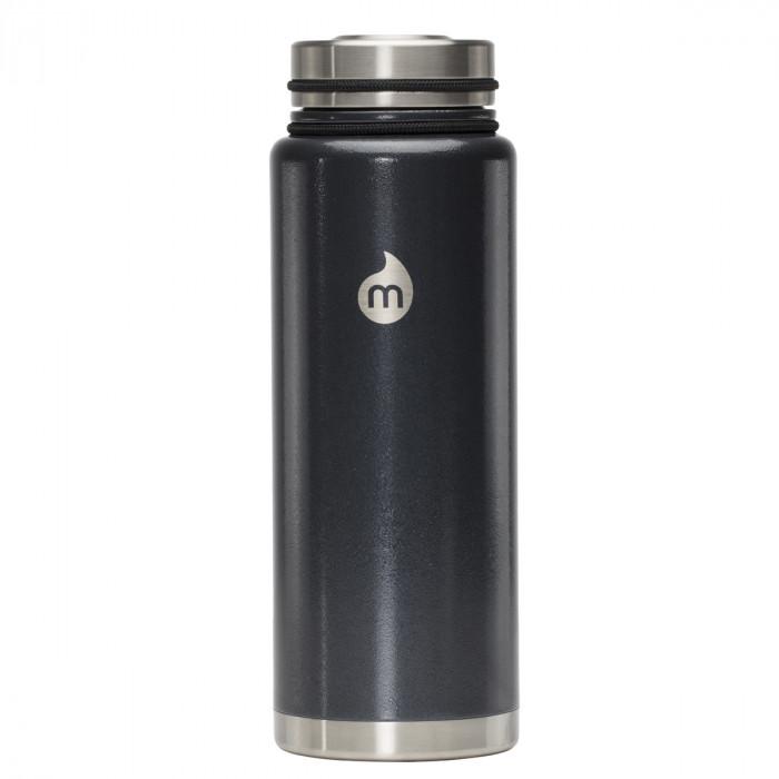 Thermosflasche in grau mit Hammerschlag-Lackierung von MIZU - Modell V12 - Front