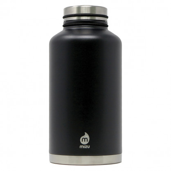 Thermosflasche V20 von MIZU mit 2 Liter Füllvolumen. Schwarze XXL Isolierflasche aus doppelwandigem Edelstahl.