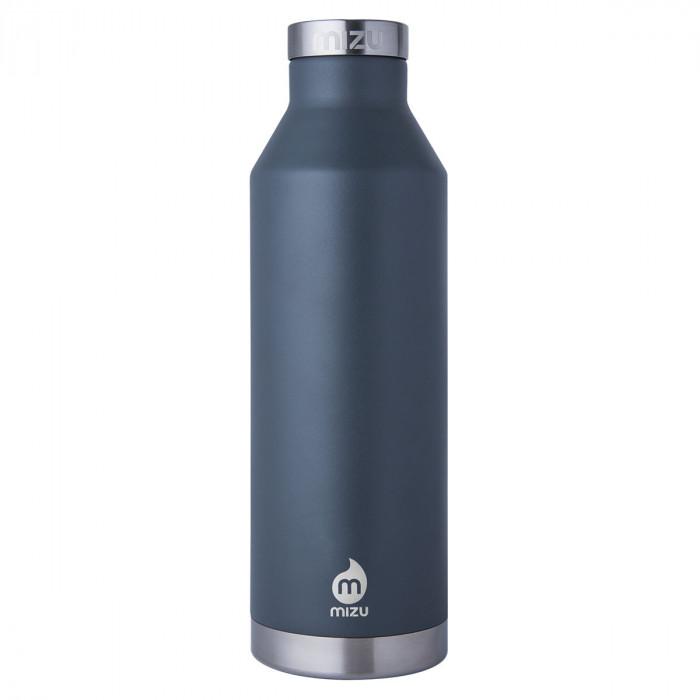 Dunkelgraue MIZU V8 Thermosflasche aus Edelstahl, doppelwandige Trinkflasche. Hohe Isolierleistung.