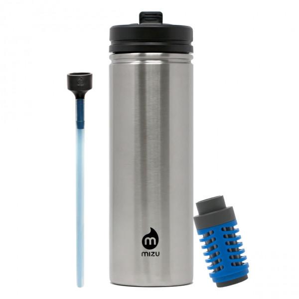 MIZU M9 Trinkflasche 360 Kit: Set aus Trinkflasche aus Edelstahl mit Strohhalm und Wasserfilteraufsatz von MIZU.