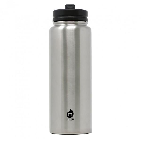 Große Trinkflasche mit 1,5 L Füllvolumen: die M15 von MIZU Design mit Multifunktionsdeckel mit Strohhalm und Adapteraufsatz.