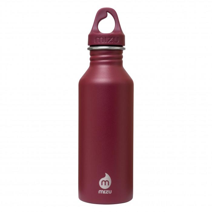 MIZU Trinkflasche M5 in dunkelrot aus Edelstahl. Modell Enduro burgundy red mit 0,5 Liter Volumen - Ansicht: Front.
