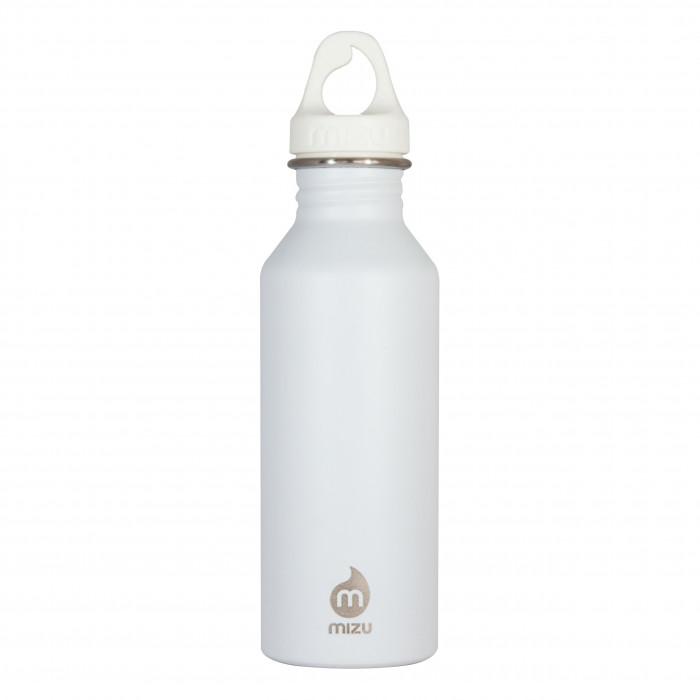 Weiße MIZU Trinkflasche M5 aus Edelstahl. Modell Enduro mit 0,5 Liter Volumen - Ansicht: Front.