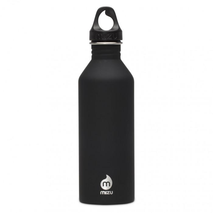 Trinkflasche M8 von MIZU in schwarz mit soft touch Oberfläche. Die ST Trinkflasche M8 aus Edelstahl von MIZU Design - Front.