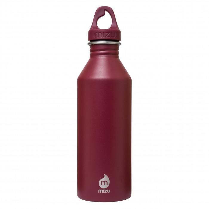 Trinkflasche M8 von MIZU Design in dunklem Rot. Die Edelstahlflasche - Modell Enduro burgundy mit 0,8 Liter Volumen - Ansicht: Front.