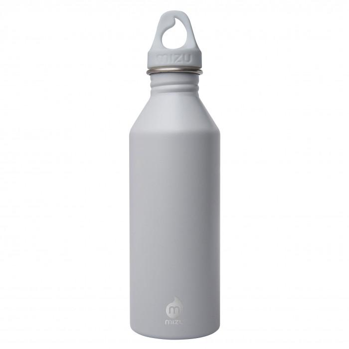MIZU Trinkflasche M8 aus Edelstahl. Modell Enduro lightgrey (hellgrau) mit 0,8 Liter Volumen - Ansicht: Front.