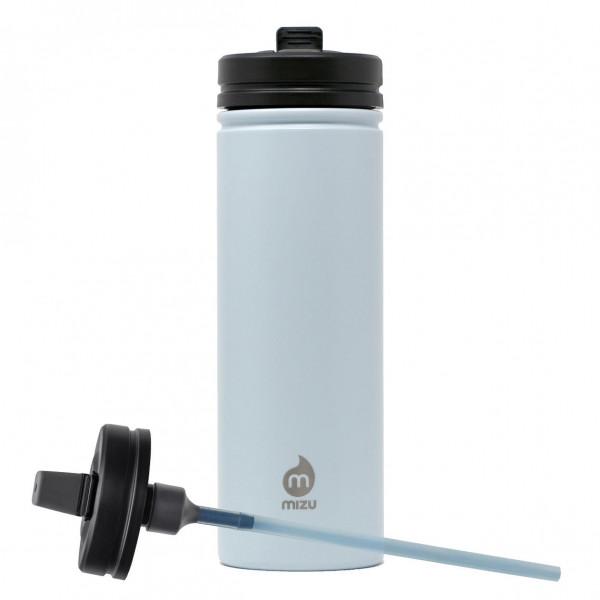 MIZU Trinkflasche M9 aus Edelstahl mit Strohhalmdeckel. Edelstahlflasche in ice blau mit 0,9 l Volumen.
