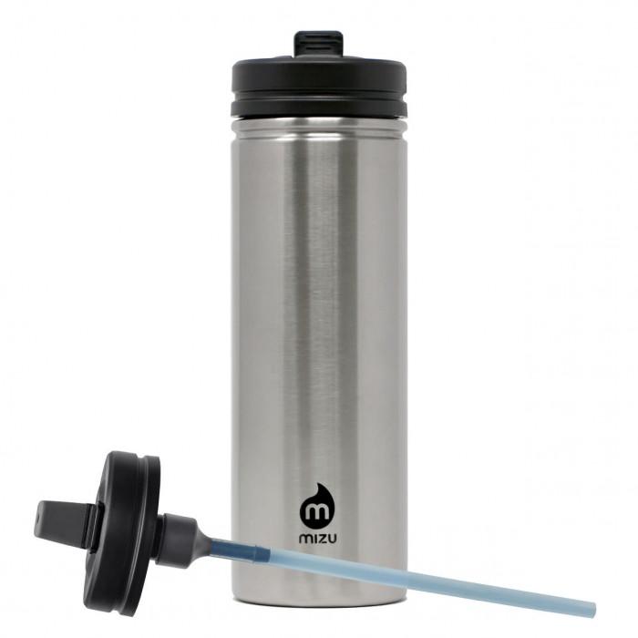 Trinkflasche aus Edelstahl mit Strohhalm-Deckel von MIZU Design. M9 Edelstahlflasche 360 Straw Lid steel.