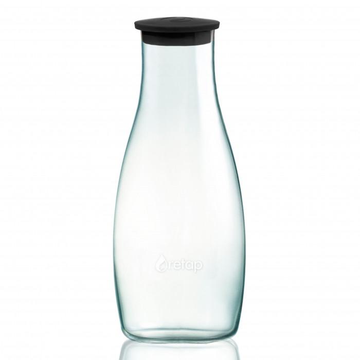 Die formschöne Glaskaraffe 1,2 l von Retap. Bauchige Glas Karaffe mit schwarzen Deckel - für´s Büro, zu Hause oder den Garten!