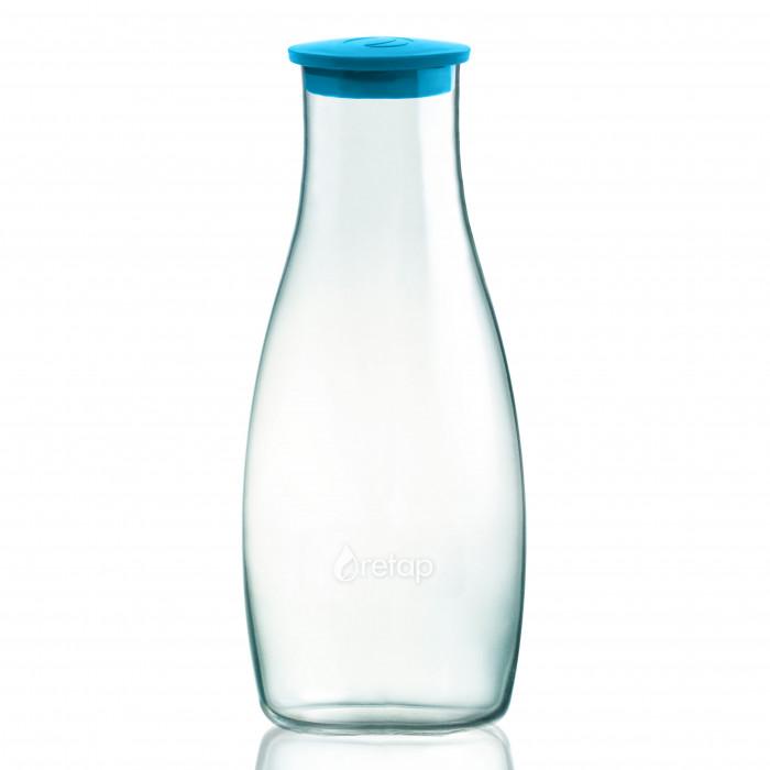 Designer Glaskaraffe aus Borosilikatglas mit Deckel türkisblau. Bauchige Karaffe 1,2 Liter aus Glas. Deckel light blue.