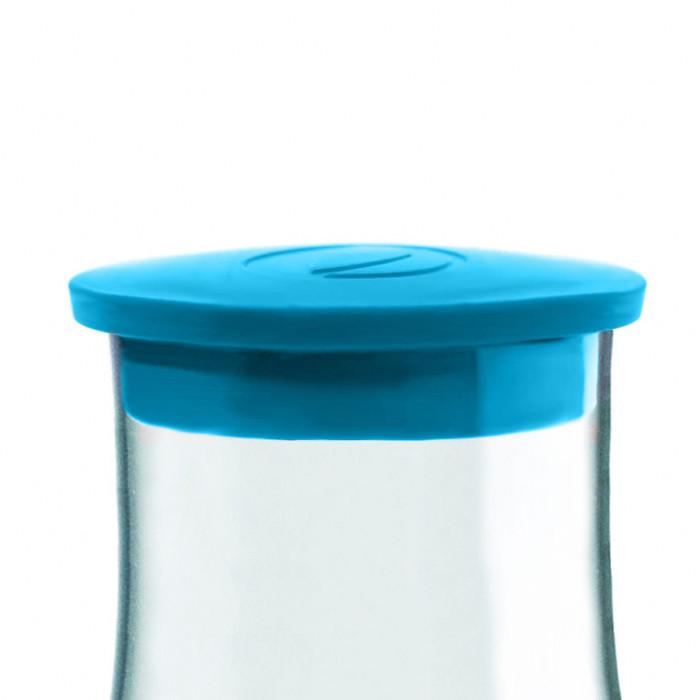 Der türkisblaue Ersatzdeckel für die 1,2 l Glaskaraffe von Retap. Kunststoffdeckel light blue.