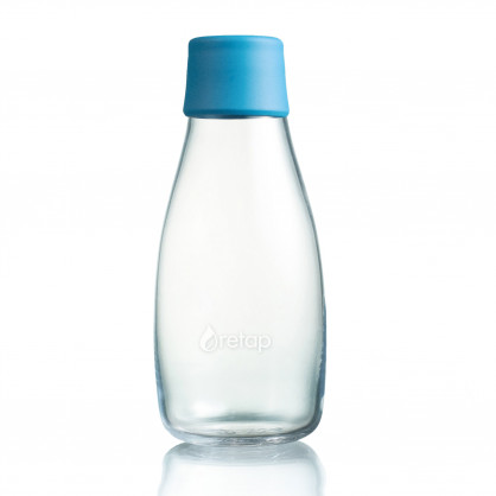 Retap Trinkflasche 0,3l aus Borosilikatglas mit türkisblauem Deckel.