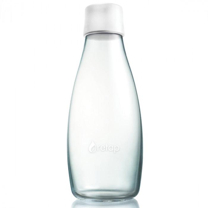 Retap Trinkflasche 0,5l aus Borosilikatglas mit gefrostetem weissen Deckel.