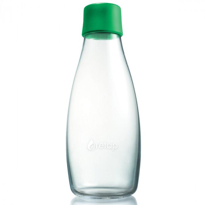 Retap Trinkflasche 0,5l aus Borosilikatglas mit grünem Deckel.