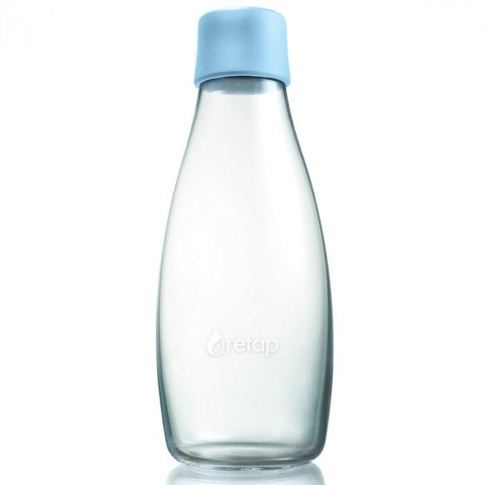 Retap Trinkflasche 0,5l aus Borosilikatglas mit hellblauem Deckel.