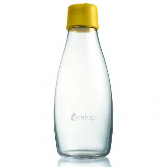 Retap Trinkflasche 05: Glasflasche mit Kunststoffdeckel aus Silikon in mustard yellow ( senfgelb ). Retap Glasflasche 0,5 Liter.