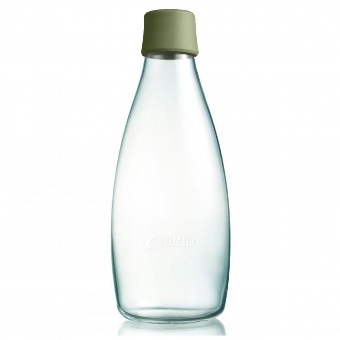Retap Design Trinkflasche aus Glas 0,8 L mit olivegrünem Deckel army green.