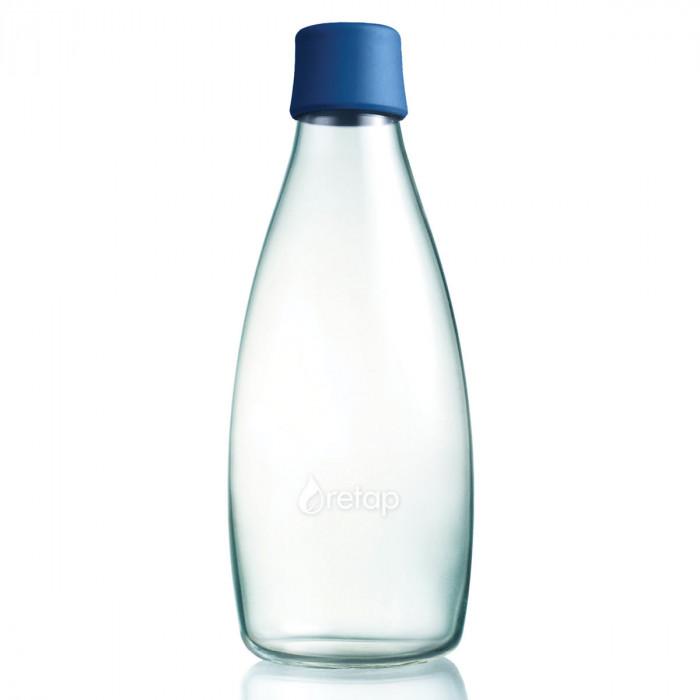 Retap Trinkflasche 0,8l aus Borosilikatglas mit dunkelblauem Deckel.