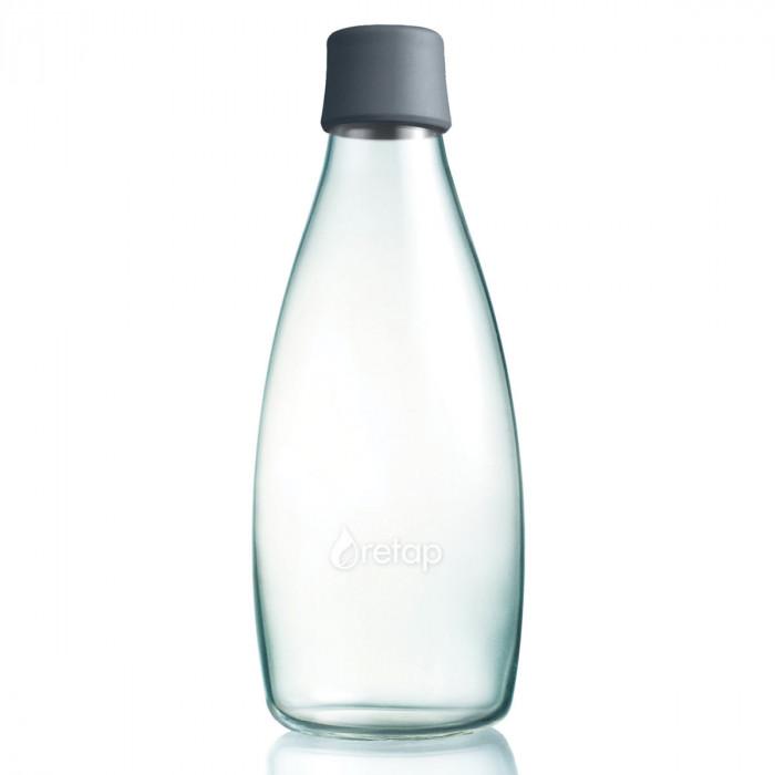 Retap Trinkflasche 0,8l aus Borosilikatglas mit grauem Deckel.