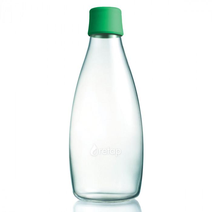 Retap Trinkflasche 0,8l aus Borosilikatglas mit grünem Deckel.