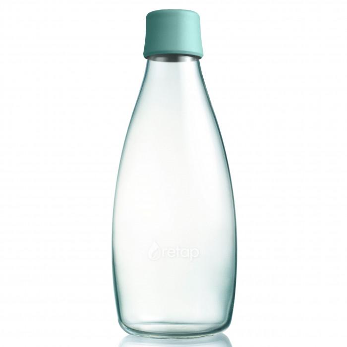 Design Trinkflasche Retap 0,8 Liter mit mintblauem Deckel. Die Glasflasche für Büro, Zuhause und unterwegs.