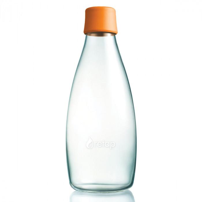 Retap Trinkflasche 0,8l aus Borosilikatglas mit orangefarbenem Deckel.
