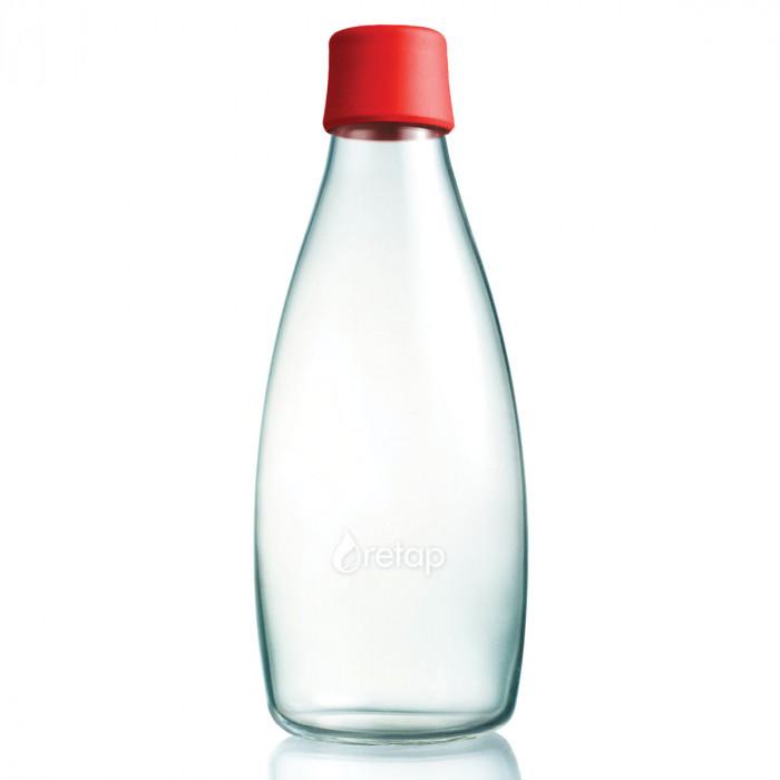 Retap Trinkflasche 0,8l aus Borosilikatglas mit rotem Deckel.
