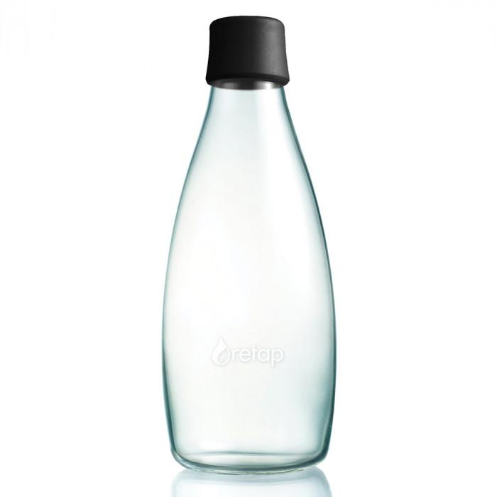 Retap Trinkflasche 0,8l aus Borosilikatglas mit schwarzem Deckel.