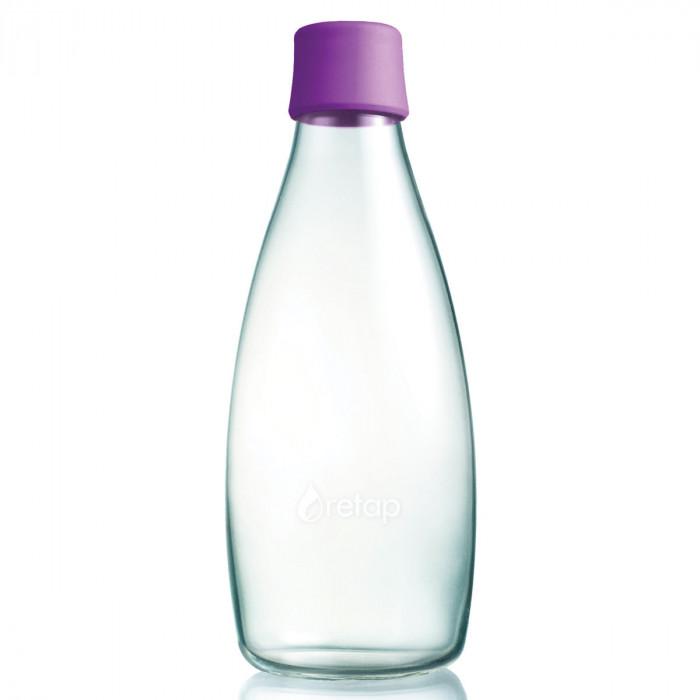 Retap Trinkflasche 0,8l aus Borosilikatglas mit violettem Deckel.