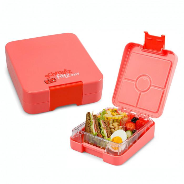 Kinderlunchbox easy von schmatzfatz in hellem coral rot. Auslaufsichere Lunchbox für Kinder mit vier Unterteilungen.