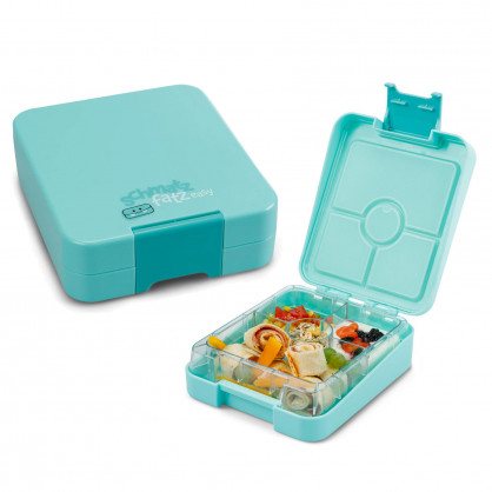 Kinderlunchbox easy von schmatzfatz in türkisblau. Auslaufsichere Lunchbox für Kinder mit vier Unterteilungen.