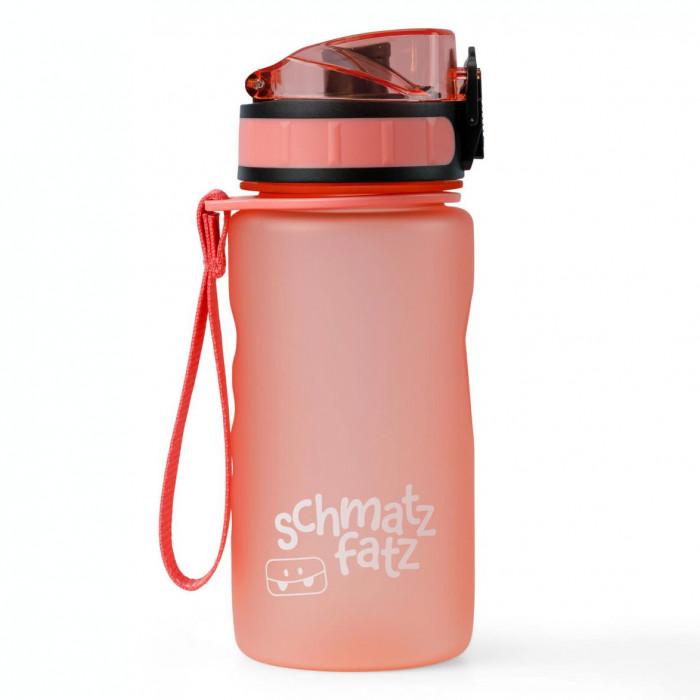 schmatzfatz Trinkflasche Kinder in coral rot: 350 ml, 1-Klick-Verschluss, Fruchtsieb, auslaufsicher, BPA-frei und aus hochwertigem Tritan Kunststoff.