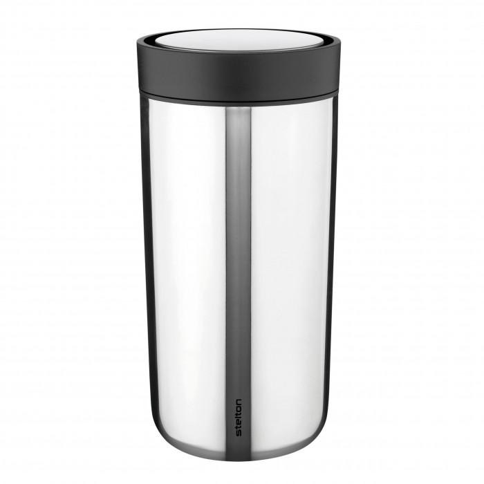 Doppelwandiger Becher to go - Thermobecher aus Edelstahl - Vacuum To Go Click 0,4 l steel - Stelton Design.