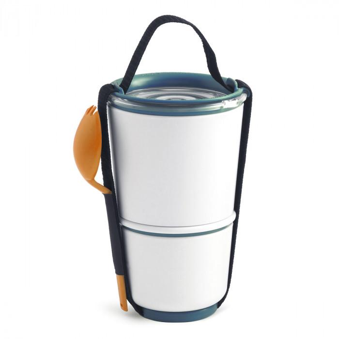 Lunch Pot Box Appetit mit 2 Etagen von black+blum Design. Der auslaufsichere, doppelwandige Lunchpot kommt inklusive Löffel.