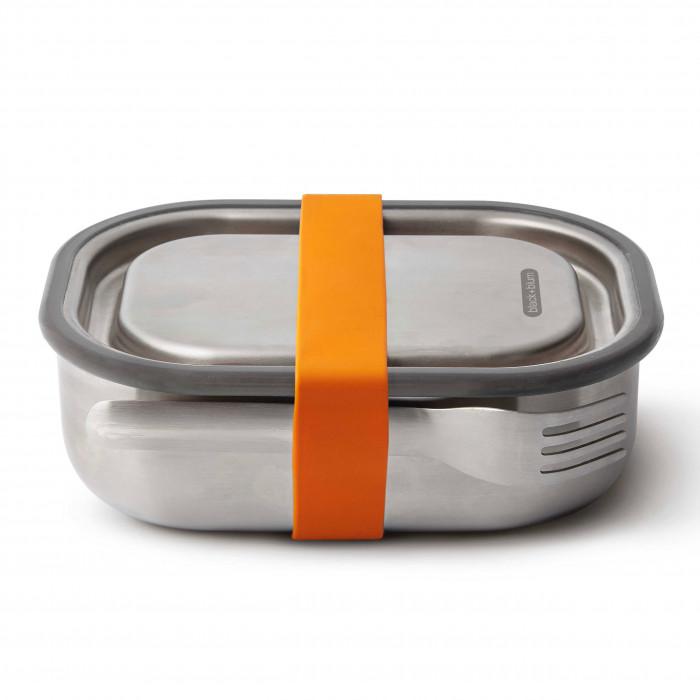 Lunchbox Edelstahl mit Gabel 0,6 l orange