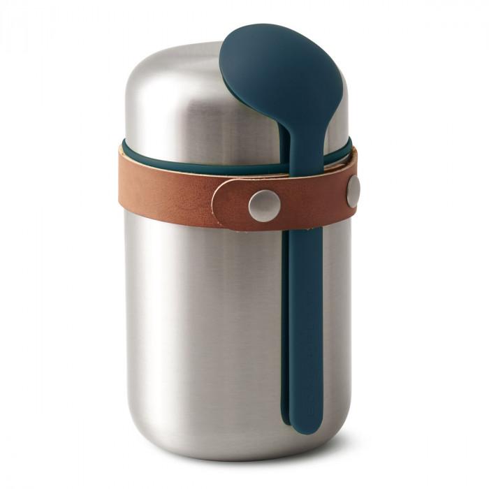 Food Flask Lunchpot aus Edelstahl von black+blum mit Löffel in ocean blau