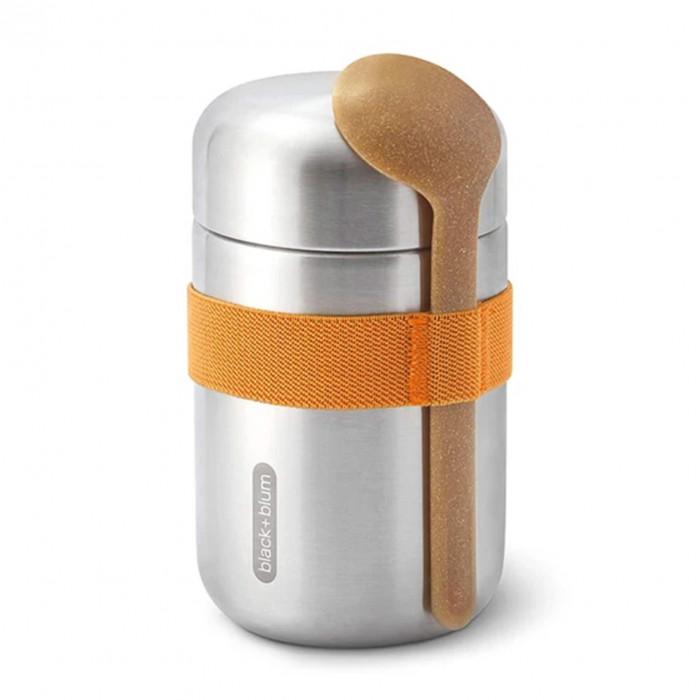 Doppelwandige Thermo Pot FOOD FLASK orange. Lunchpot aus Edelstahl mit Löffel von black+blum Design.