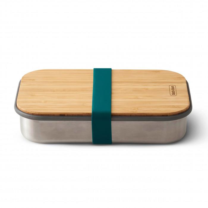 Lunchbox / Sandwichbox aus Edelstahl mit Holzdeckel aus Bambus. Aus der Serie Box Appetit von black & blum Design. Mit Gummiband in petrol ocean blau.
