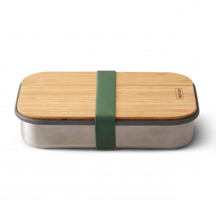 Lunchbox / Sandwichbox aus Edelstahl mit Holzdeckel aus Bambus. Aus der Serie Box Appetit von black & blum Design. Mit Gummiband in olivegrün.