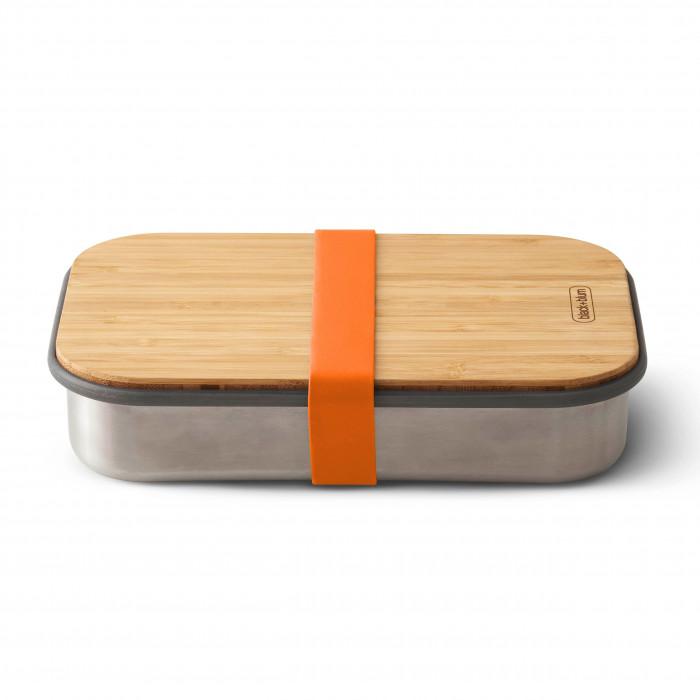 Lunchbox / Sandwichbox aus Edelstahl mit Holzdeckel aus Bambus. Aus der Serie Box Appetit von black & blum Design. Mit Gummiband in orange.