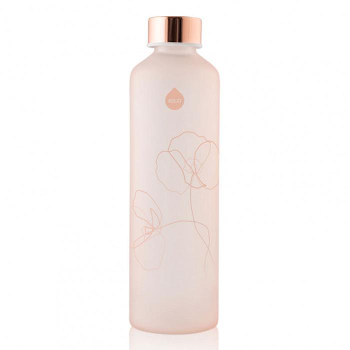 Equa Trinkflasche MISMATCH BLOOM. Glasflasche aus sandgestrahlten Borosilikatglas in rosé. Schraubverschluss auslaufsicher.