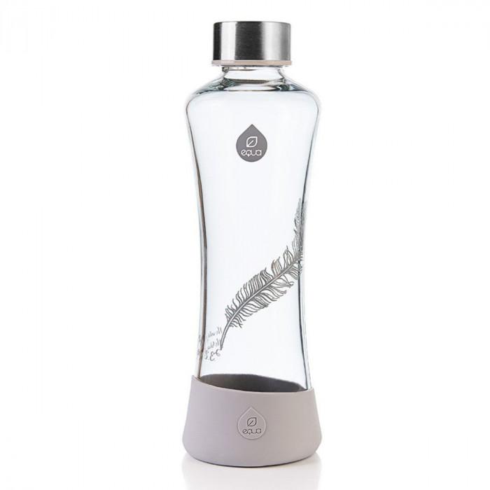 equa Trinkflasche aus Glas - 550 ml, Feder - grau