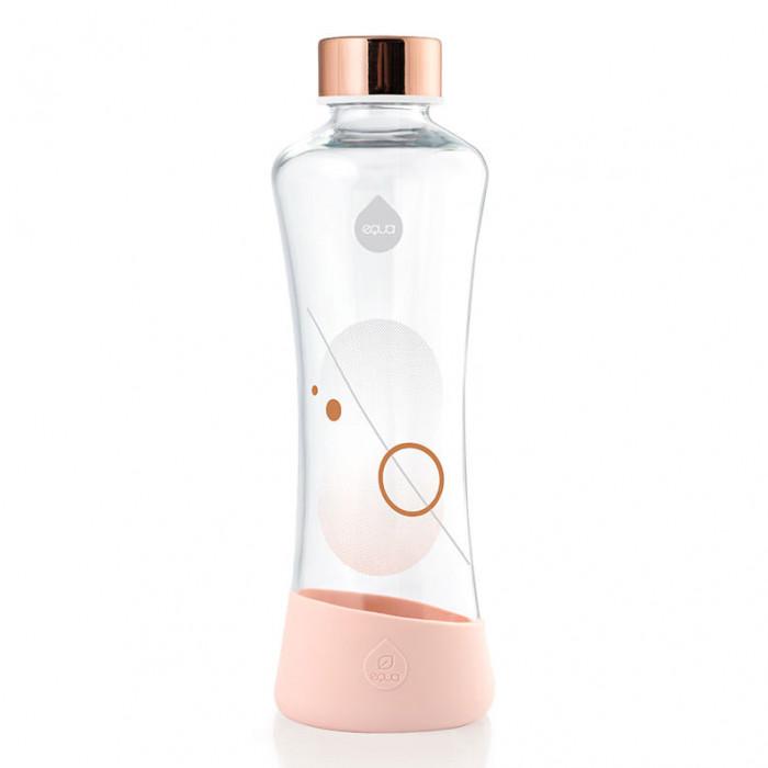 equa Trinkflasche aus Glas - Metallic Rosé Gold - 550 ml - Kreis Print - Design - rosa / kupfer - Frontal