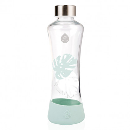 Trinkflasche aus Glas - Urban Jungle Monstera - 550 ml - Blätterprint - equa Design - mint - Frontal