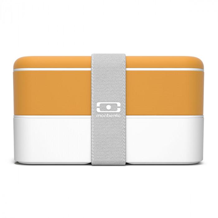 monbento Lunchbox MB ORIGINAL Bento Box Moutarde, gelb-weiß (senfgelb), Kunststoff Bento Box mit Gummiband, zweistöckig, frontale Ansicht