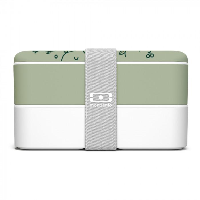 MB ORIGINAL Bentobox von monbento in lindgrün und weiß. Lunchboxen Modell english garden - Blätter Print. Doppelstöckige Bento Box mit Gummiband. Auslaufsicher, BPA-frei, robust, ...