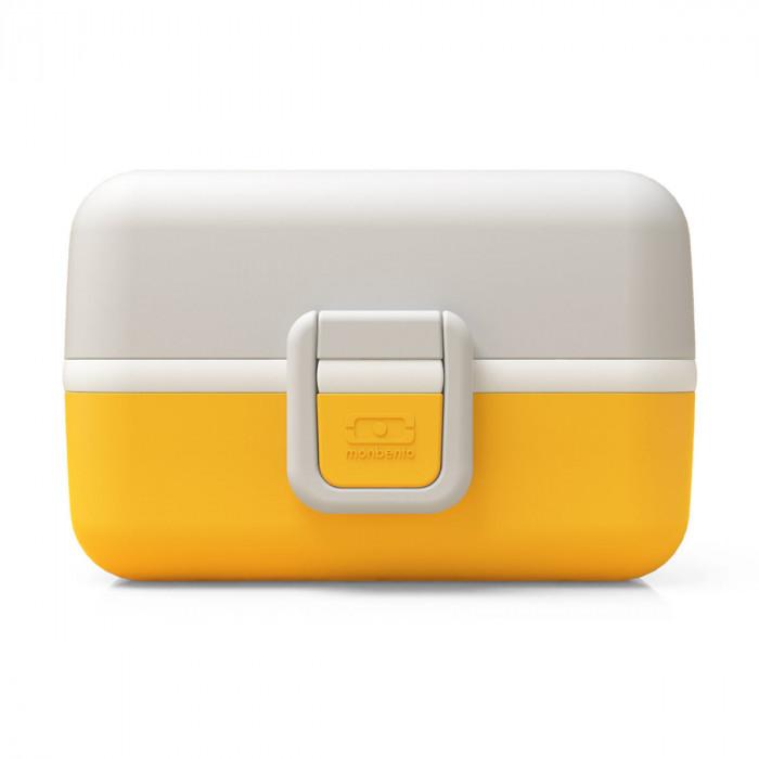 Kinderlunchbox MB TRESOR von monbento - Farbe senfgelb und hellgrau - einfacher Klippverschluss - 3 Fächer - Mädchen Lunchbox