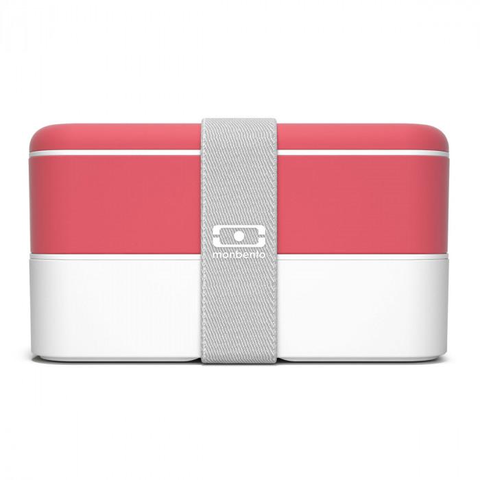 monbento Lunchbox MB ORIGINAL Bento Box, coral - weiß, Kunststoff Bento Box mit Gummiband